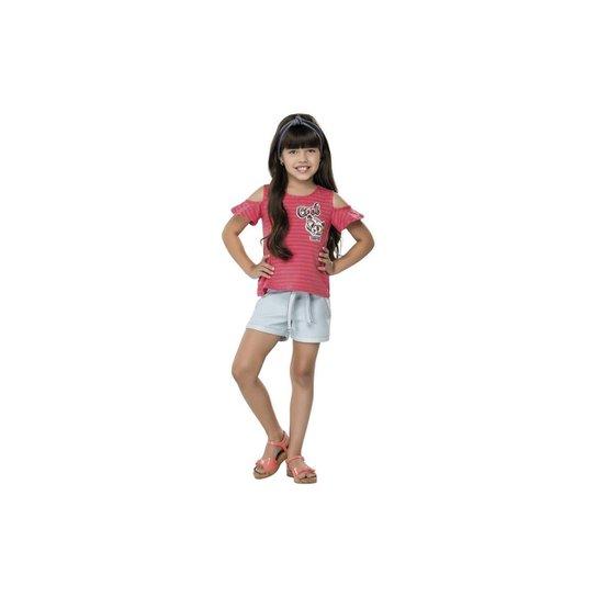 Blusa Infantil Quimby Com Recorte nas Mangas Feminina - Pink ... 33d00f04fe3