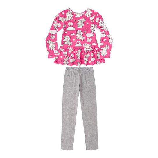 Pijama Infantil Blusa Meia Malha E Legging Cotton Quimby Feminino - Pink 63492f4ff16