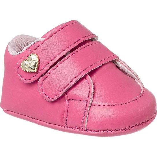 41894cb254 Sapatinho de Bebê Feminino Klin Recém-nascido Velcros - Pink
