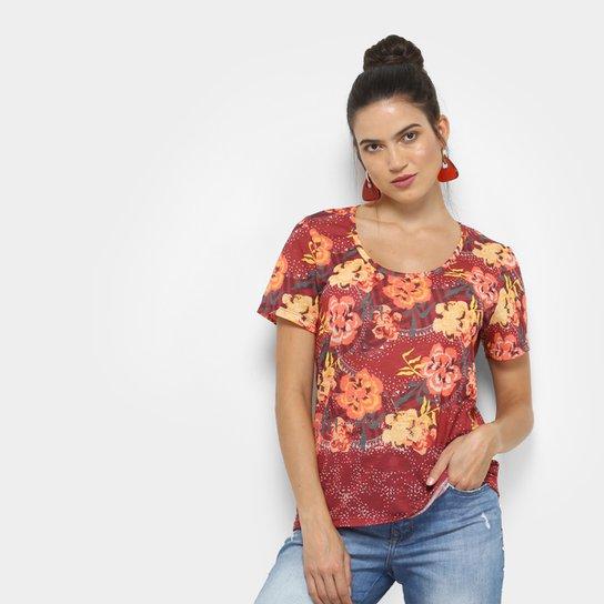 a02b7afaa6 Camiseta Cantão Local Chita Feminina - Vinho e Amarelo