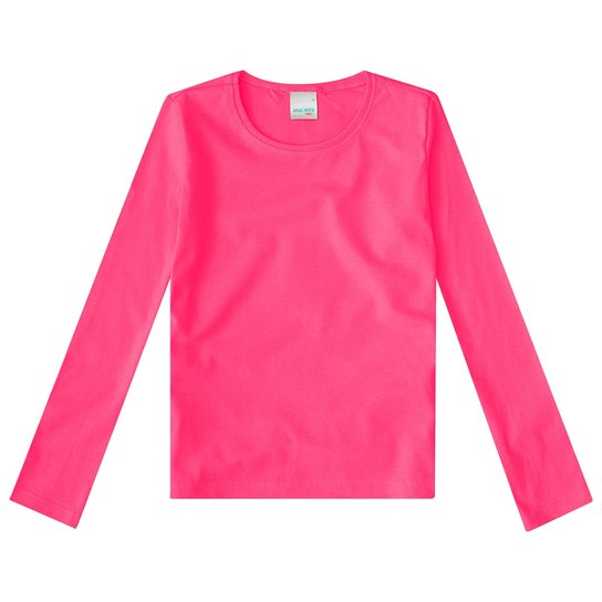 dfc6724942 Camiseta Manga Longa Infantil Malwee Malha Feminina - Pink