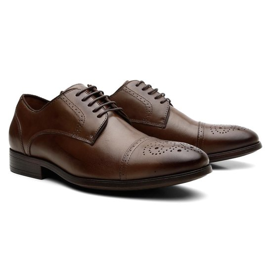 528222d7b4 Sapato Social Conforto Total Brogue Thomas Luxo Masculino - Marrom