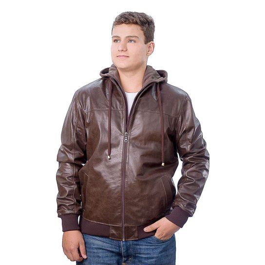 6b5c9468dfa23 Jaqueta Masculina Capuz Couro - Compre Agora