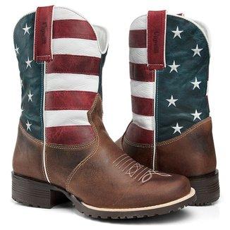 Bota Texana Country Capelli Boots EM Couro Bandeira USA Bico Redondo  Masculina a60f6e306f4