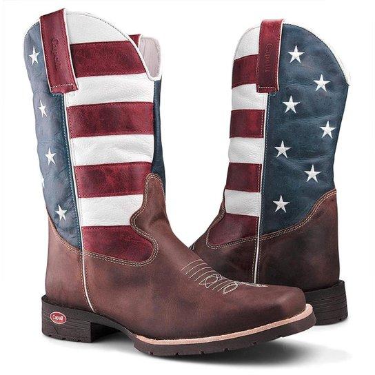 Bota Texana Capelli Boots Country Bandeira USA Couro Bico Quadrado Masculina  - Marrom 6dd6406814