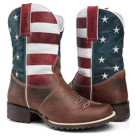 Bota Texana Country Capelli Boots Couro Bandeira USA Bico Redondo Masculina  - Marrom 903cf6da0c7