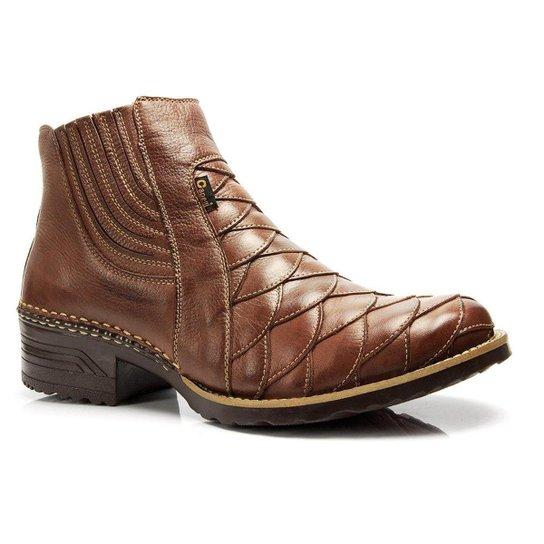 ... 26c405c4c2c Bota Country Capelli Boots Texana Escamada Couro Detalhes  Costura Masculina - Marrom ... b33f9b1b960