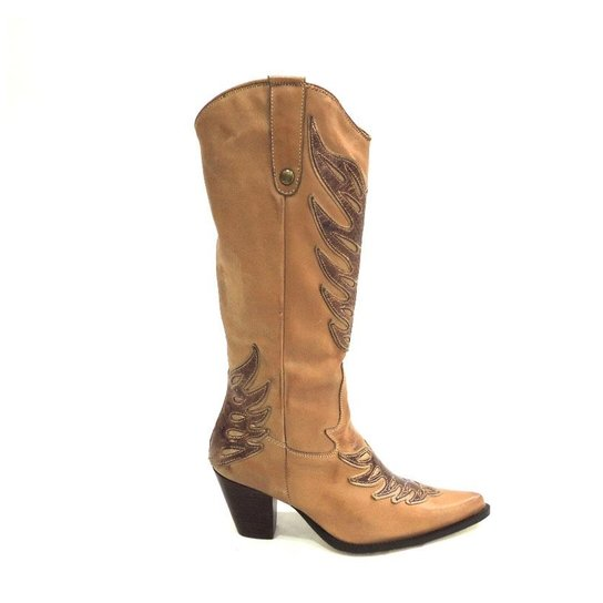 ad47b495a0867 Bota Texana Couro Rosa Ribeiro Country Feminino - Compre Agora