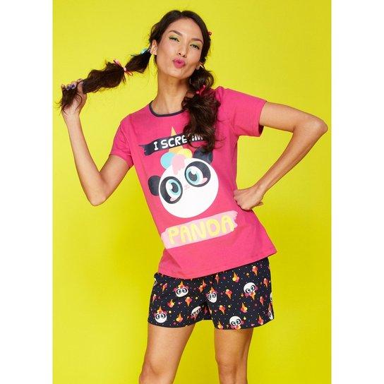 46a016a5d6 Pijama Puket Curto Ice Cream Panda Feminino - Pink