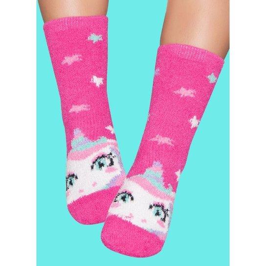 c6b93d92a Meia Soft Infantil Puket Unicórnio Feminina - Pink