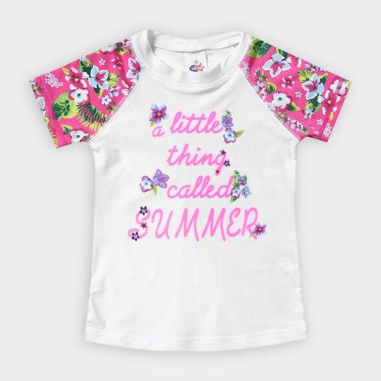56b3abac6c Camiseta Infantil Tip Top Summer Flower Proteção UV Feminina - Pink