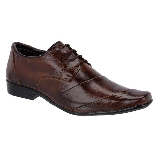 396987774 Sapato Social Couro Leoppé c  Cadarço Masculino - Marrom - Compre ...
