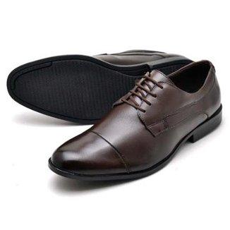 Sapato Social Couro Bico Arredondado Reta Oposta Masculino facee4fa14461