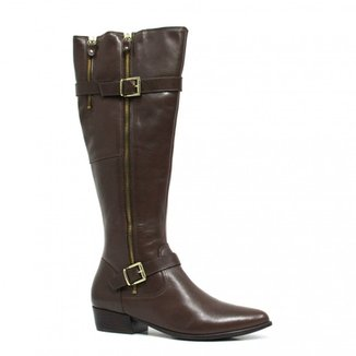 69642ab3cf Bota Zariff Shoes Montaria em Couro Fivela Feminina
