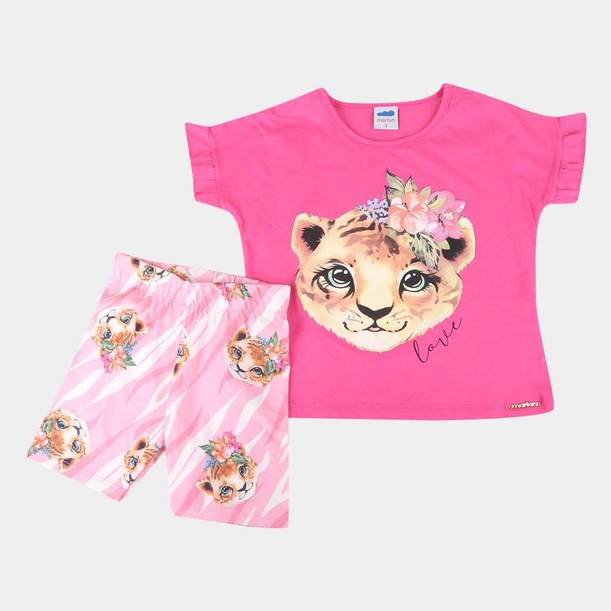 Conjunto Bebê Blusa E Shorts Tigers Love Feminino