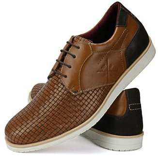 5672185ee Sapato Casual Couro SapatoFran Brogue Tricê Masculino
