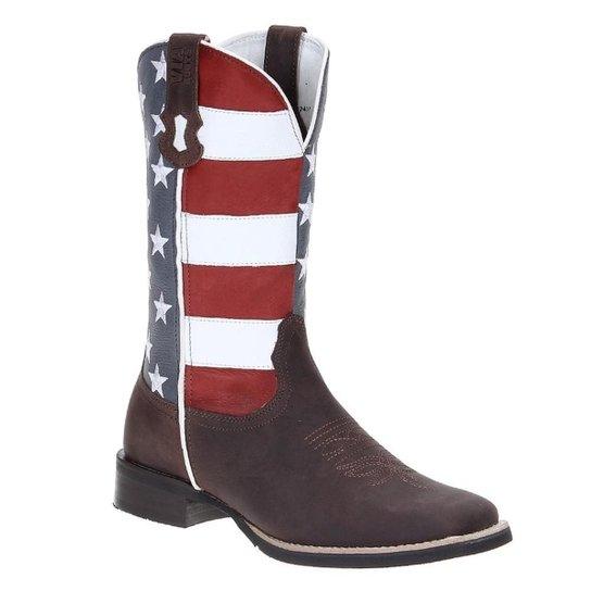 Bota Couro Bandeira EUA Bico Quadrado Masculina - Compre Agora  61aacfebe67