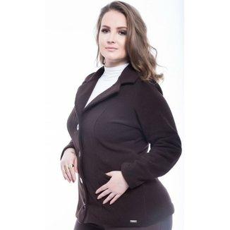 0331f2e693 Casaco Plus Size Bolsos em Tweed Mirasul Feminino
