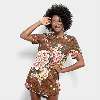 14044309e Vestido Farm Curto Reto Animal Print Estampa Onça Floral