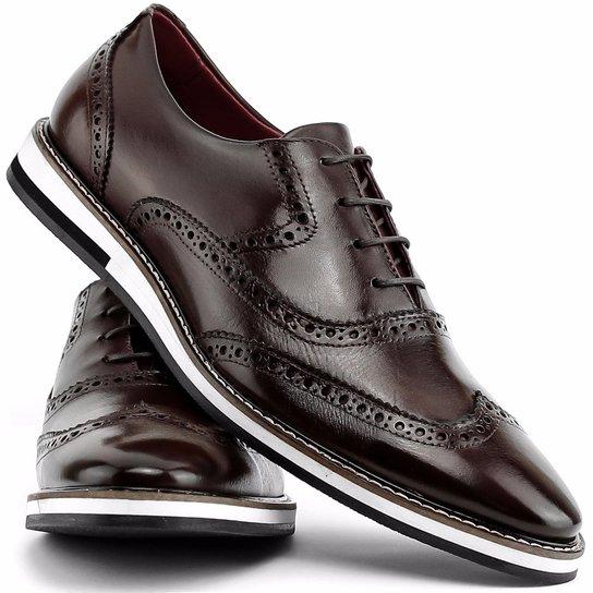 fff2025415 Sapato Social Gofer Com Cadarço Solado de Couro Masculino - Marrom ...