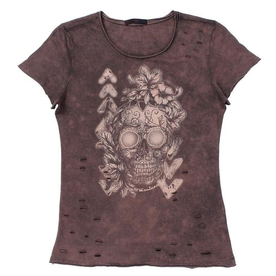 Camiseta Tassa Destroyer Feminina - Marrom - Compre Agora   Zattini ffea9a1beb