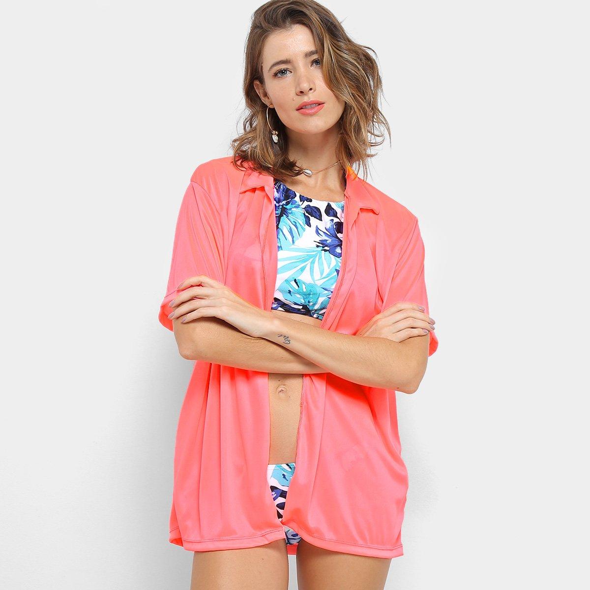 Saída de Praia Flora Zuu Camisa Neon Feminina