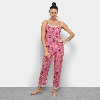 7ad4dd947 Conjunto De Pijama Flora Zuu Estampado Renda Feminino