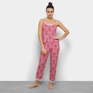 f86ea289e Conjunto De Pijama Flora Zuu Estampado Renda Feminino