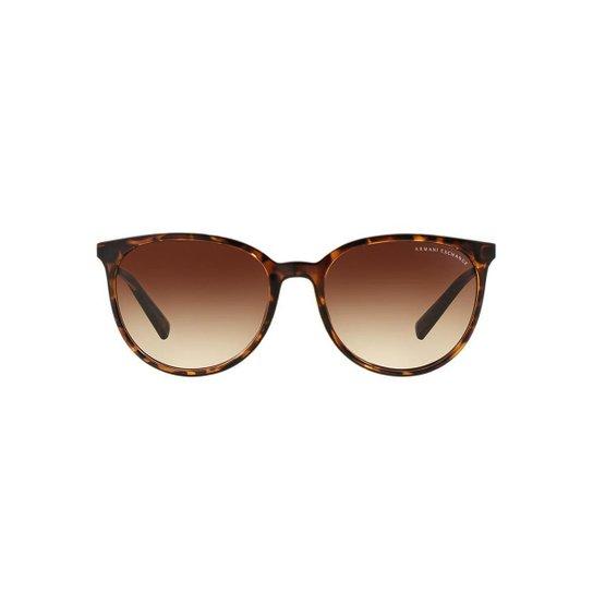 73ee903a272 Óculos de Sol Armani Exchange Redondo AX4048SL Feminino - Marrom ...