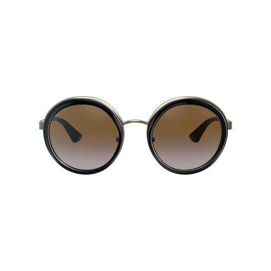 31643dbe692c9 Óculos de Sol Prada Redondo PR 50TS Feminino - Preto e Prata ...