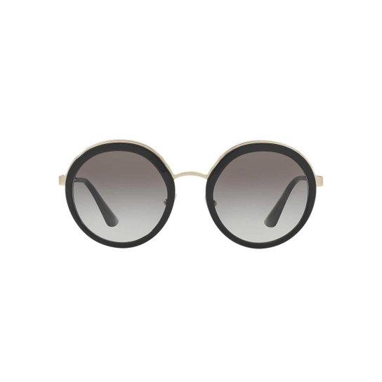 fa8c12ef8 Óculos de Sol Prada Redondo - Preto e Prata | Zattini