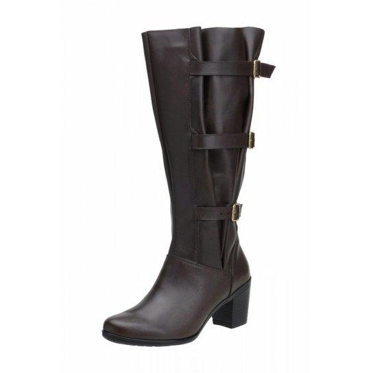 ebbb634cfd Bota Cano Alto Atron Shoes Ajustável Couro Legítimo - Marrom ...
