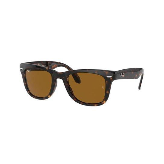 f74f722c9 Óculos de Sol Ray-Ban RB4105 Original Wayfarer Dobrável - Marrom ...