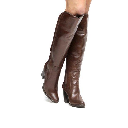 58445d7bcd Bota Couro Over the Knee Shoestock Salto Grosso Feminina - Marrom ...