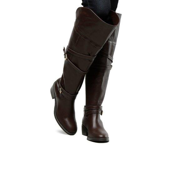 efcb2a0b55 Bota Couro Over The Knee Shoestock Fivelas Feminina - Marrom ...