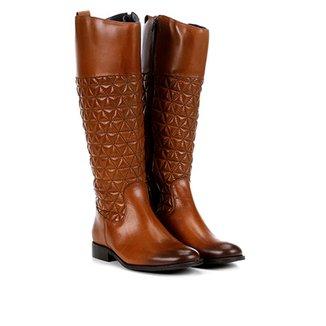 ada95fe6f2 Bota Couro Montaria Shoestock Matelassê Feminina