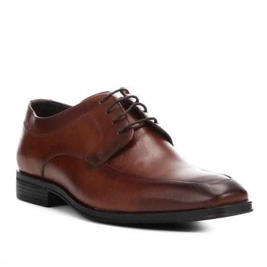 0adc83d16 Sapato Social Couro Shoestock Cadarço Masculino - Marrom - Compre ...