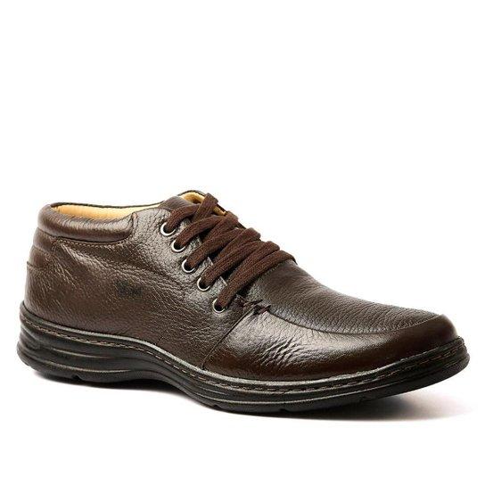 af8e164de3 Botinha casual masculina 972902 Extra Comfort Ultraleve chocolate em couro  legítimo Doctor Shoes - Marrom