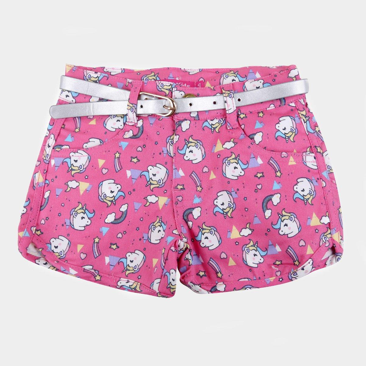 Shorts Bebê Plural Kids Cinto Unicórnio Feminino