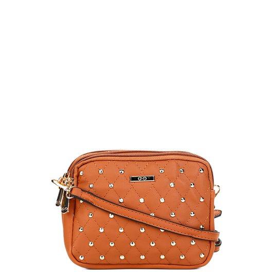 cafd56707 Bolsa Gash Mini Bag Aplique Tachas Alça Transversal Feminina - Marrom
