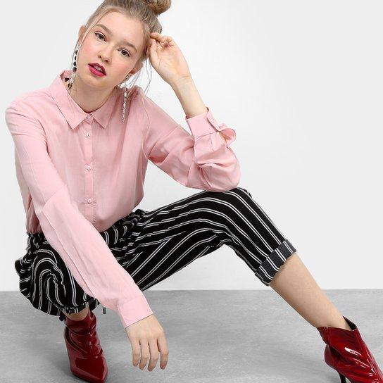 a3e9f0f1c0 Camisa Drezzup Manga Longa Feminina - Rosa Claro