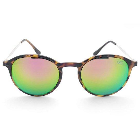 4456ec6b6f1b5 Óculos de Sol Gio Antonelli Tartaruga Fosco Lente Verde Espelhada Feminino  - Marrom