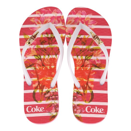 939bab5f8 Chinelo Coca-Cola Bloom Stripes Feminino - Pink+Branco