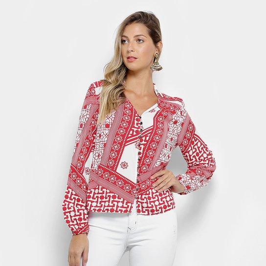 f8aa913f55 Camisa Lez a Lez Estampada Colorida Manga Longa Feminina - Pink+Branco.  Loading.