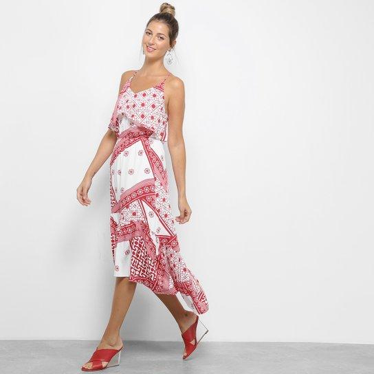 be186d4c68 Vestido Lez a Lez Evasê Mullet Bali - Vermelho+Branco