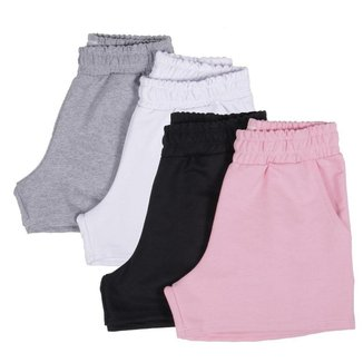 4 Shorts Curto Feminino Moletinho Conforto Verão