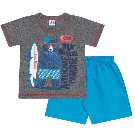 Conjunto Infantil Verão Camiseta Bear em Meia Malha e Bermuda em Tactel  Masculino - Cinza+ 49cdc8cf8fe8a