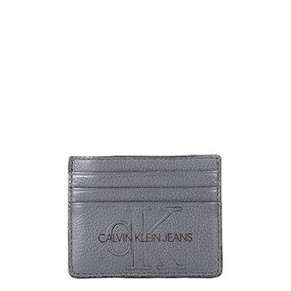 479ee32260852 Porta Cartão Couro Calvin Klein Logo Relevo Masculino
