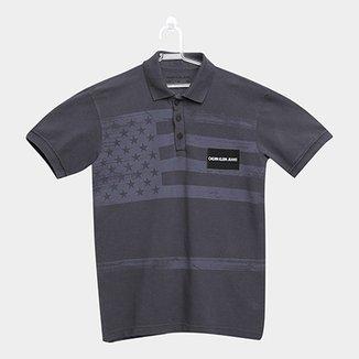 Camisa Polo Infantil Calvin Klein Bandeira Masculina 42f1eff6dc515