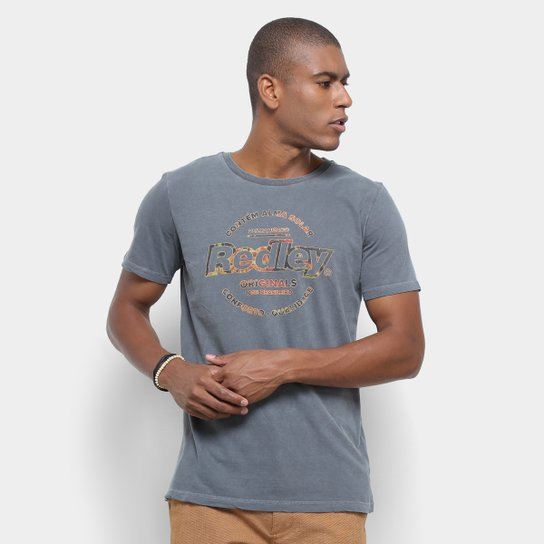 2f487e0a6b9 Camiseta Redley Originals Estampada Masculina - Chumbo - Compre ...